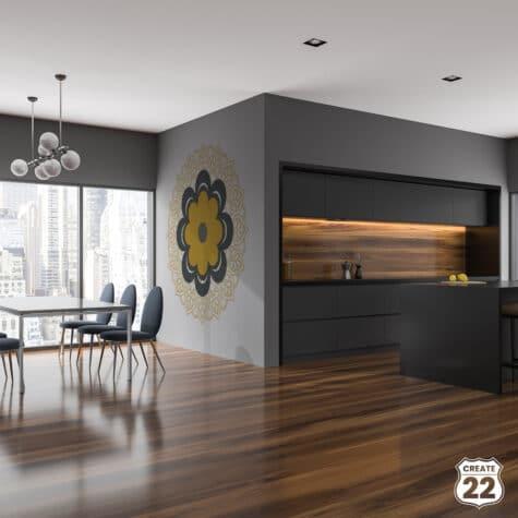 Wall art Grey Retro Mandala design by Create22