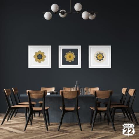 Mustard and grey Mandala Retro design, set of 3 wall art by Create22